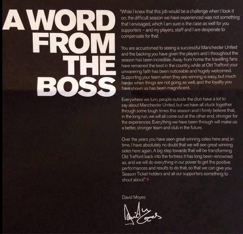 David Moyes letter to Manchester United fans