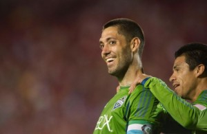 Clint Dempsey smiles after a goal
