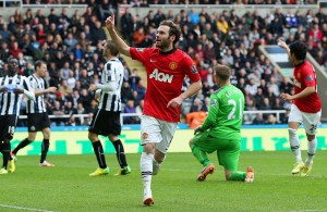 Juan Mata Celebrates second Goal against Newcastle