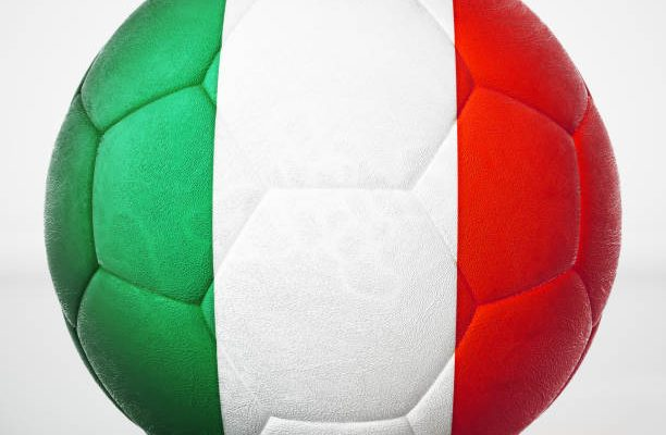 Football covered with flag of Italy.